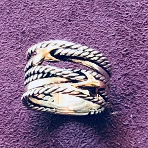 David Yurman Size 7 Double X Crossover Cable Ring